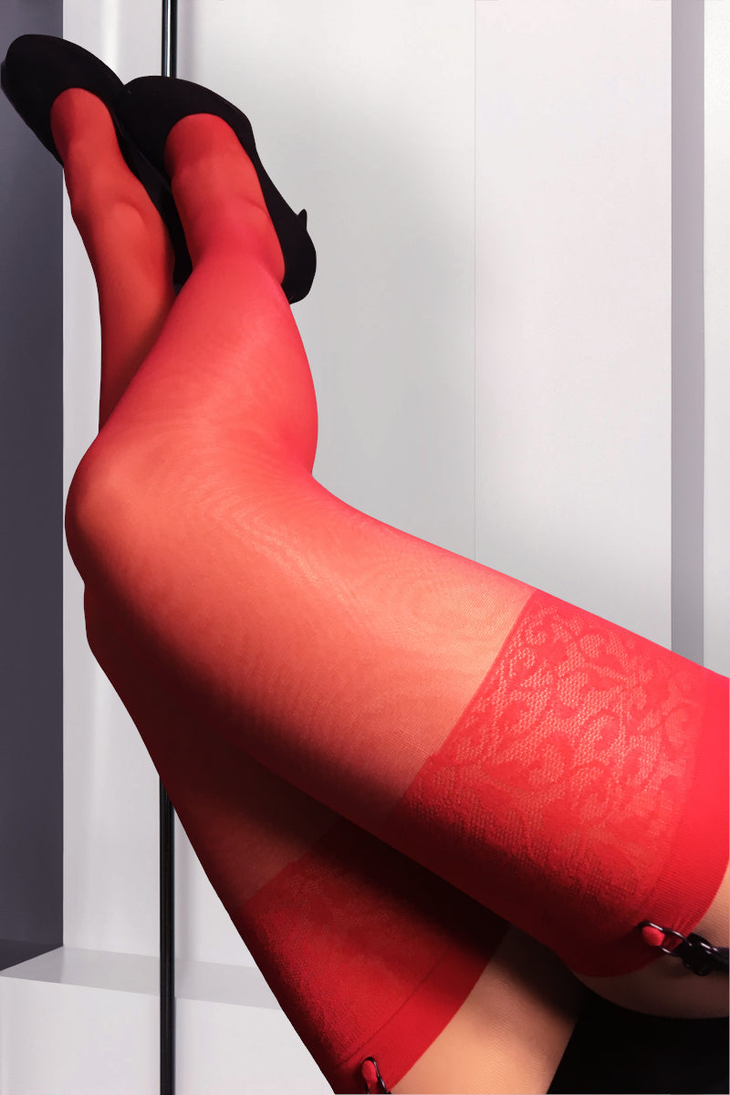 Patterned Stockings 20 Den - Red