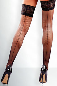 Seamed Fishnet Thigh Highs - Black