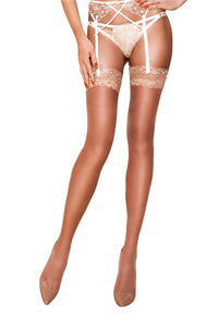 Stockings with Lace Top - Beige
