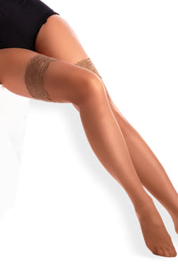 Sheer Thigh High Stockings - Beige