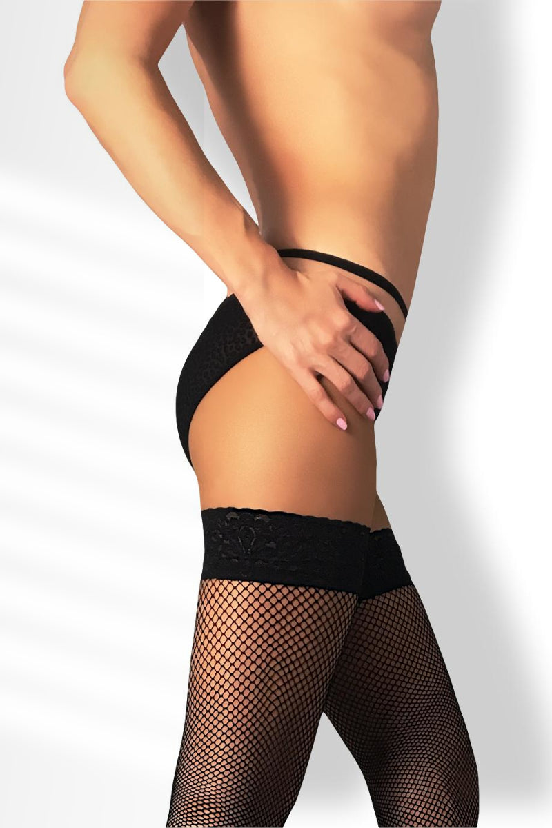 Fishnet Thigh Highs - Black