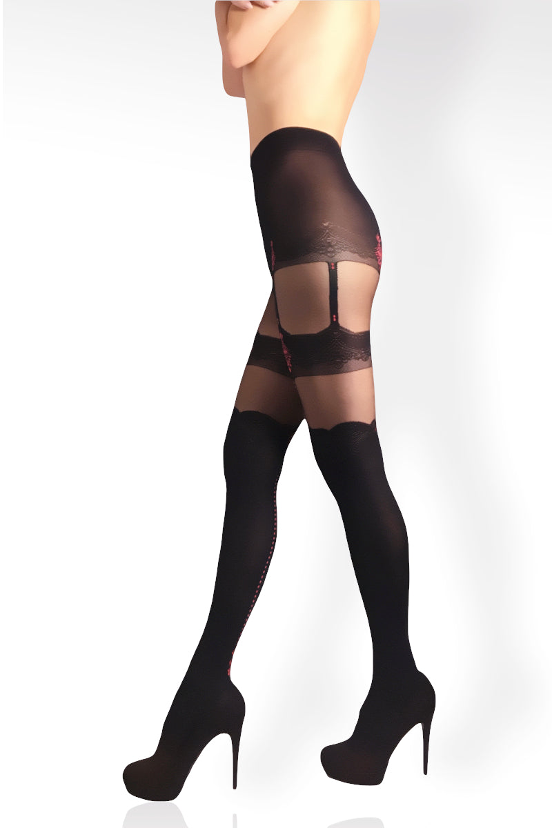 Faux Thigh Hi Tights - Red-Black