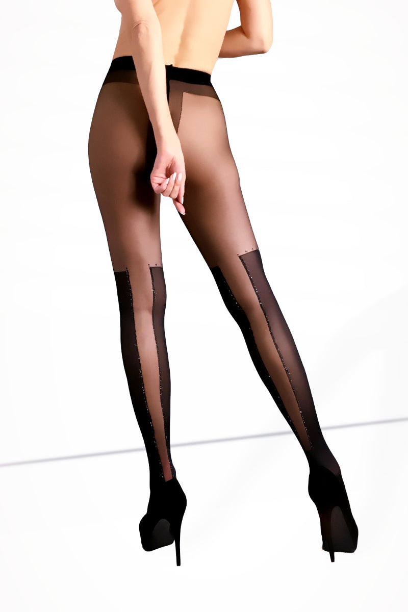 Patterned Tights with Silver Thread