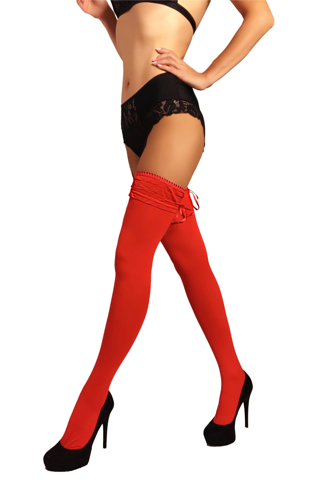 Opaque Thigh Highs 100 Den with Laced Top - Red