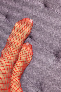 Large Fishnet Tights - Red