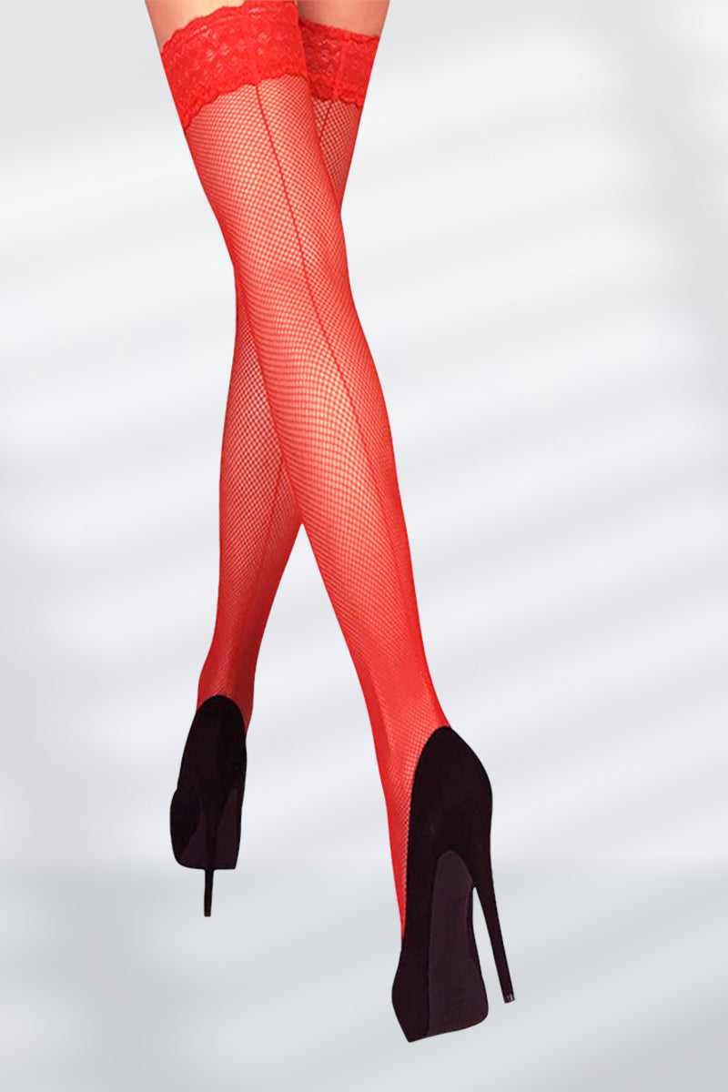 Seamed Fishnet Thigh Highs - Red