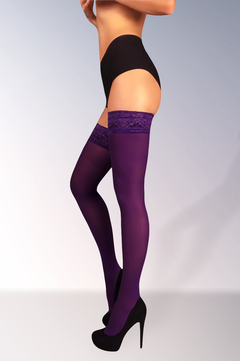 Microfiber Thigh Highs 40 Den - Violet