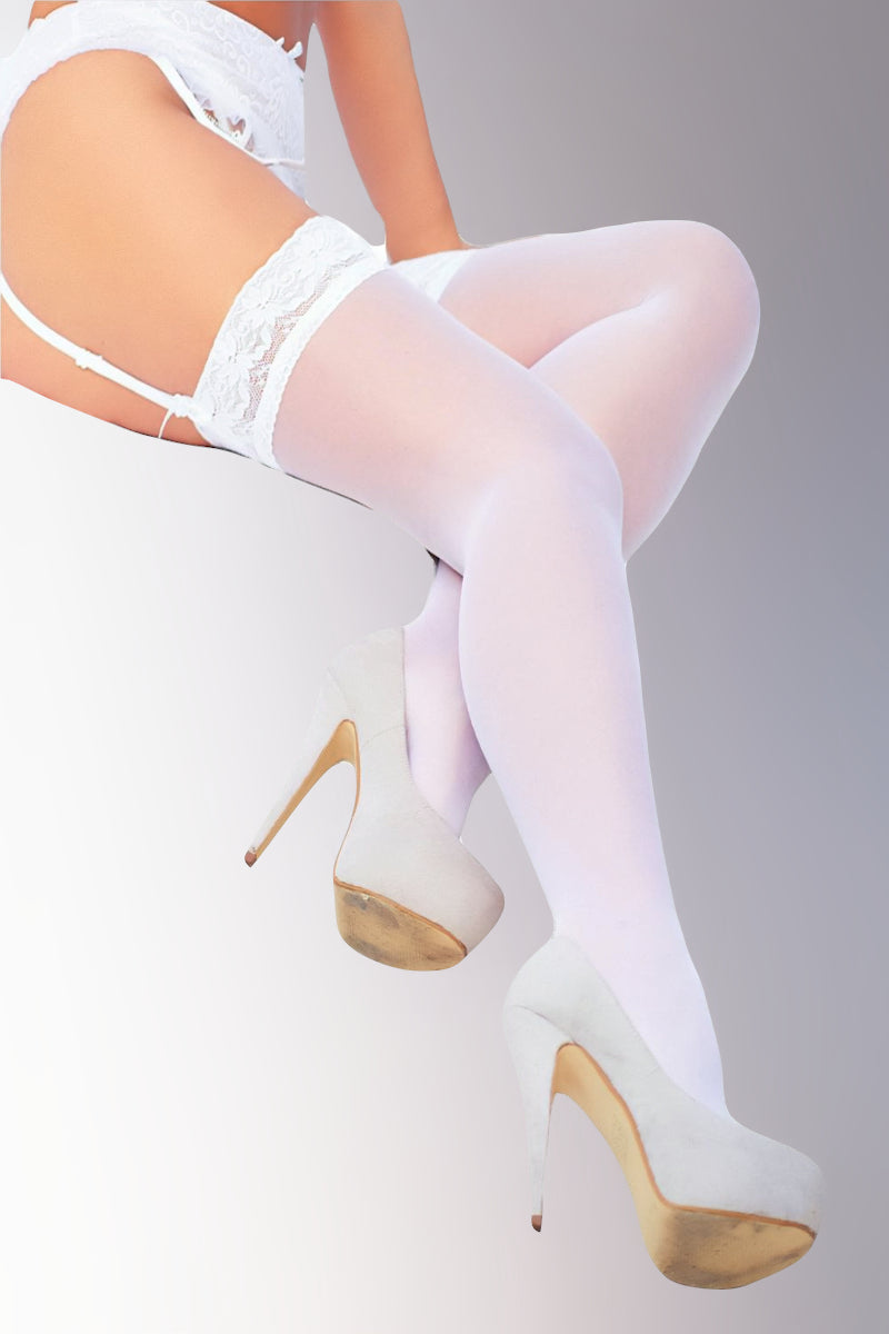 Stockings with Lace Top - White