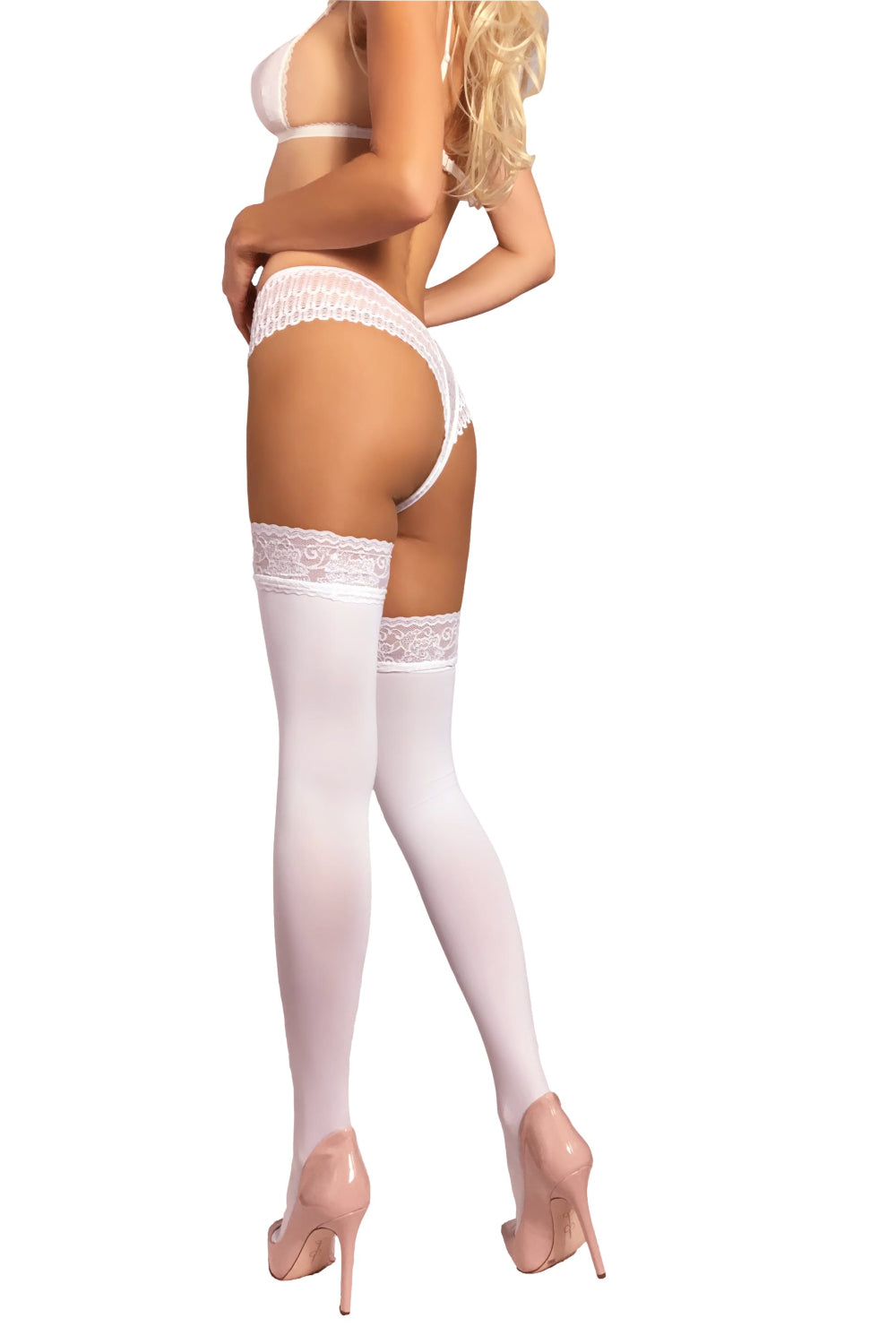 Opaque Thigh Highs 100 Den - White