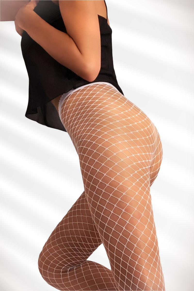 Large Fishnet Tights - White