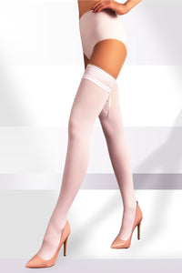 Opaque Thigh Highs 100 Den with Laced Top - White