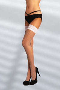 Seamed Fishnet Thigh Highs - White