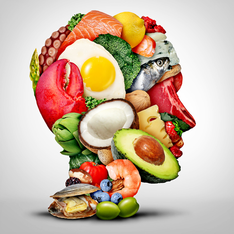 human head made out of various foods