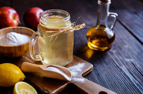 apple cider vinegar in a jar