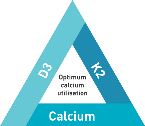 vitamin D calcium K2 triangle for optimum calcium utilisation