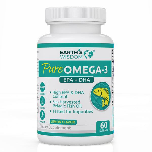earths wisdom natural omega3 fish oil epa dha nongmo wild caught