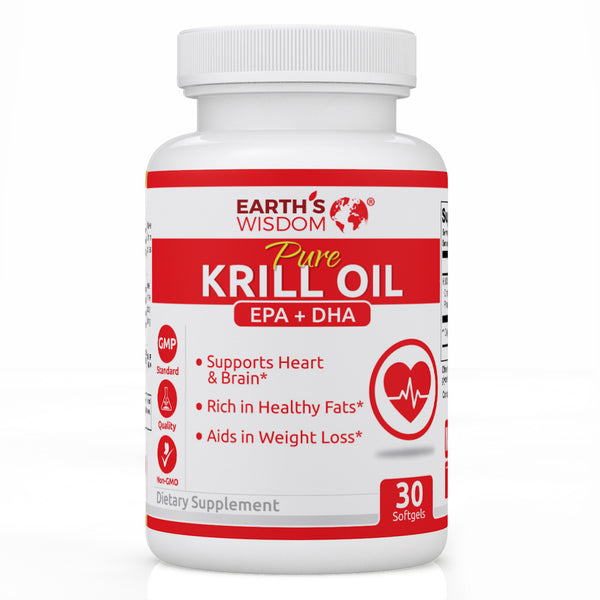 earths wisdom natural nongmo krill oil fish oil epa dha astaxanthin heart health wild caught