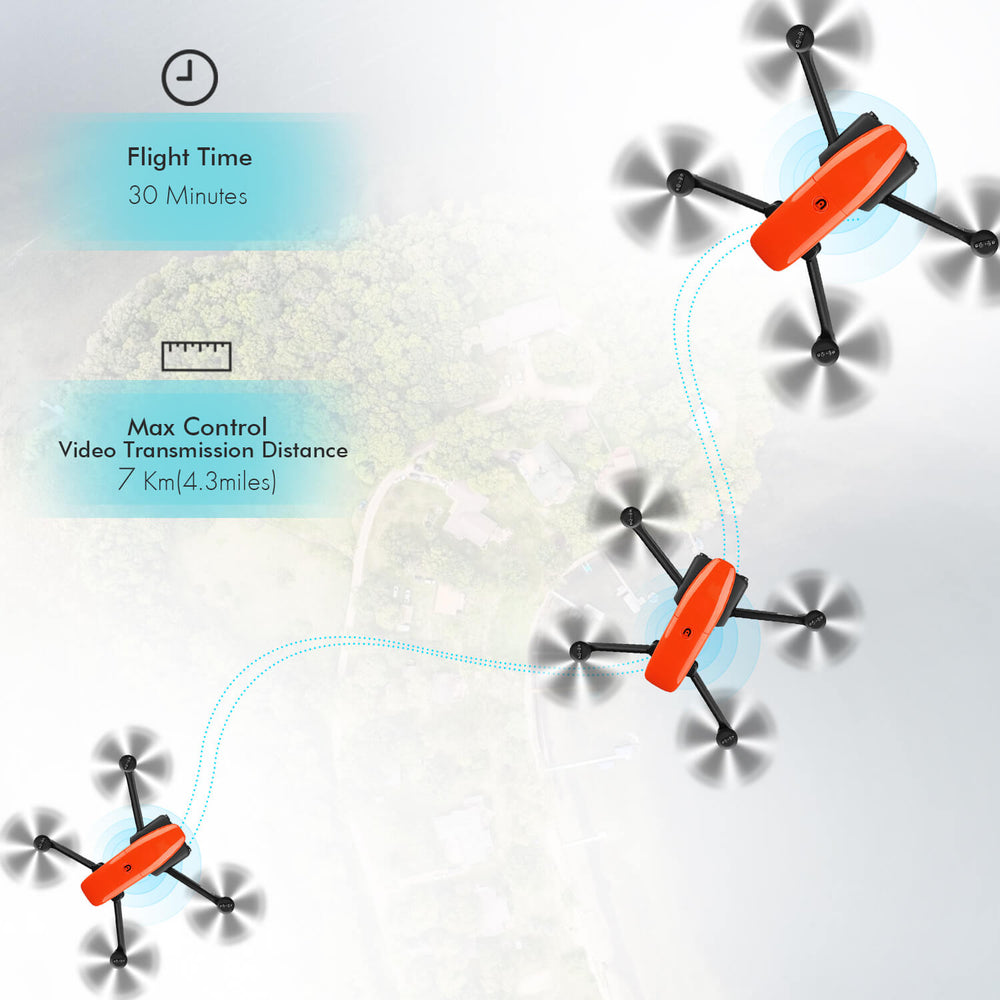 Autel evo drone 30 minutes flight time and 7KM (4.3 miles) of range