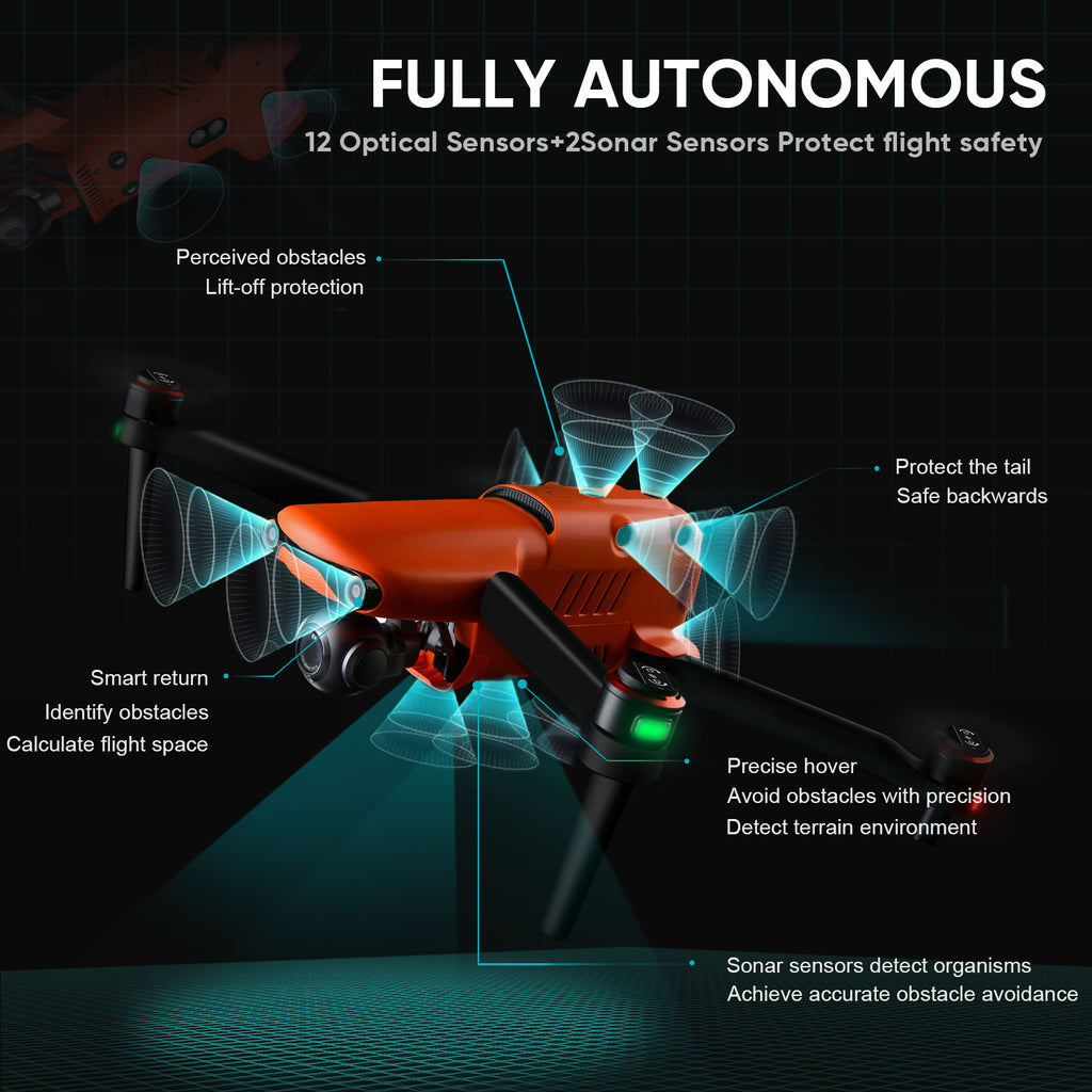 Autel EVO II Pro 3 Batteries Bundle drone have 12 sensor with 360°c obstacles function