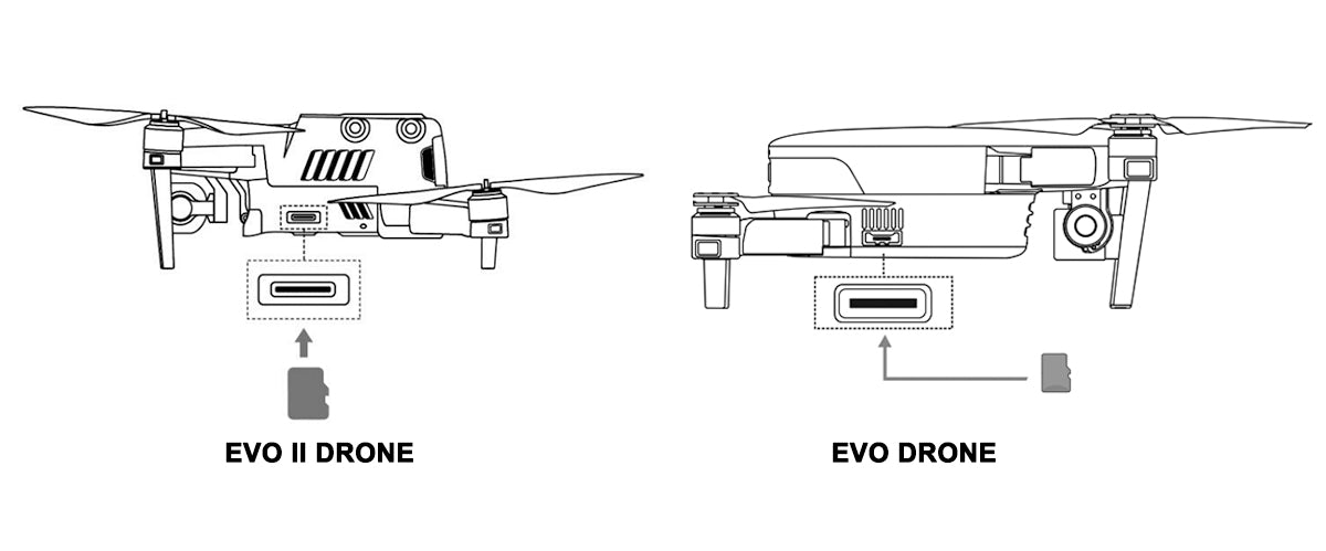 Autel evo drone sd-card position