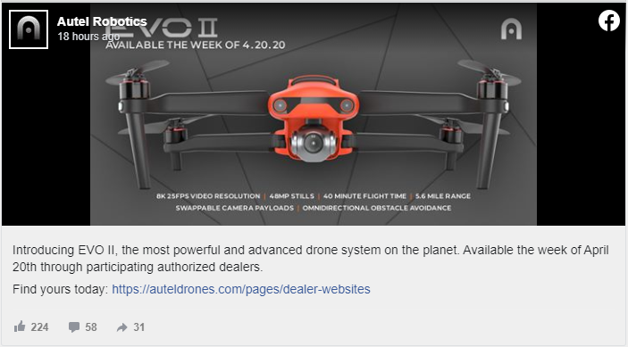 autel robotics post on facebook to release evo ii available date
