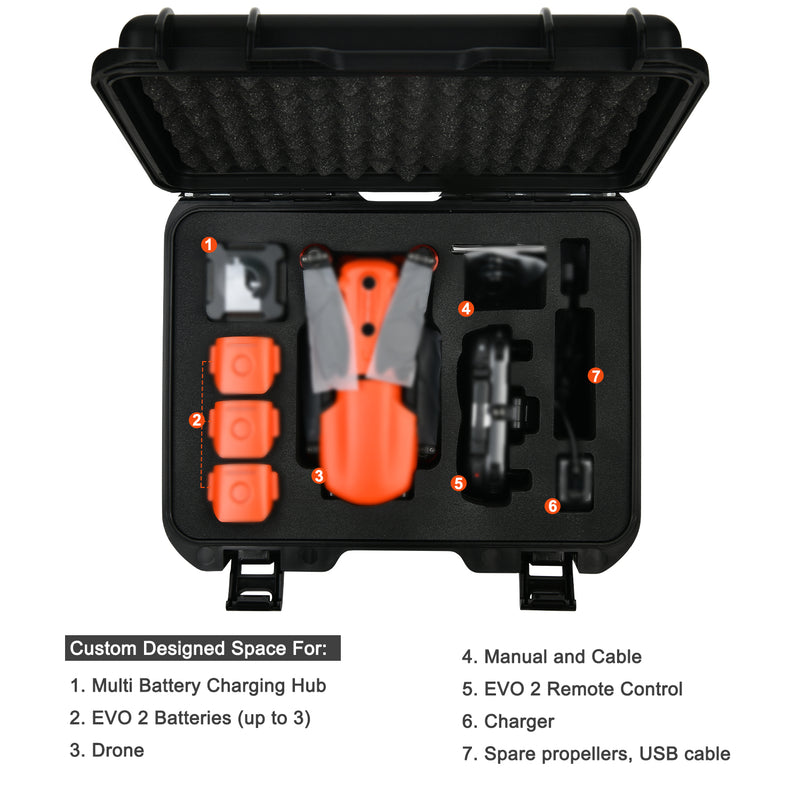 An Autel Robotics EVO II Rugged Hard Case with batteries, propellers, drone, charging hub, live deck and other accessories