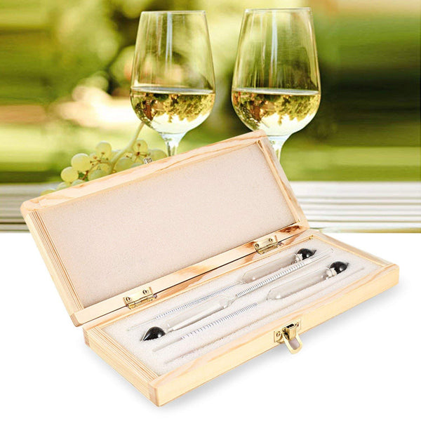 Alcohol Meter Wine Hydrometer Bar Set with Thermometer - measuring tool