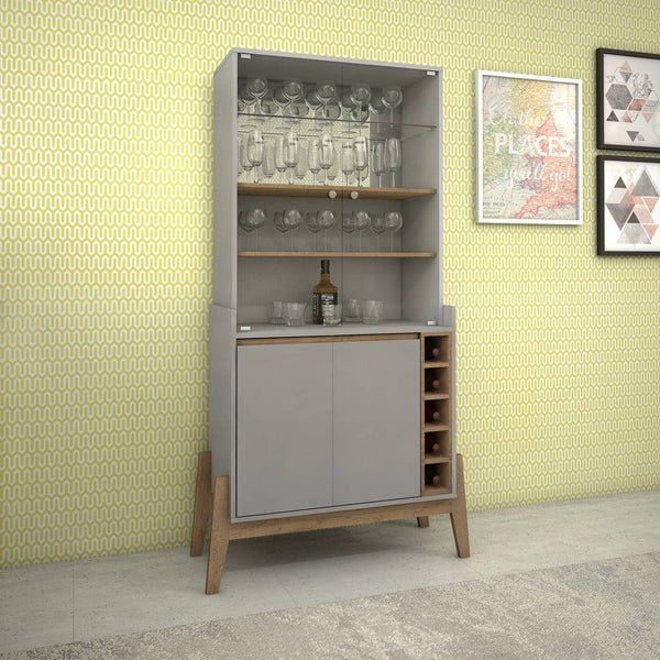 Essence 5-Bottle Wine Cabinet with 6 Shelves in Grey