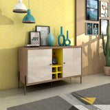 Joy 4-Bottle Wine Buffet Stand in Yellow and Off White