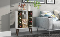 Lund 8 Bottle Wine Cabinet and Display in White and Rustic Brown