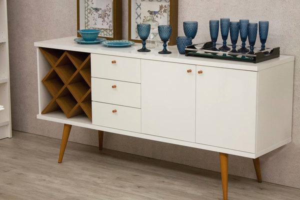 Utopia 4 Bottle Wine Rack Sideboard Buffet Stand with 3 Drawers and 2 Shelves in White Gloss and Maple Cream