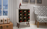 Lund 12 Bottle Wine Cabinet and Display in White and Rustic Brown