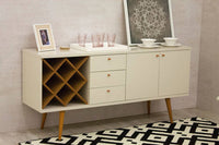 Utopia 4 Bottle Wine Rack Sideboard Buffet Stand with 3 Drawers and 2 Shelves in Off White and Maple Cream