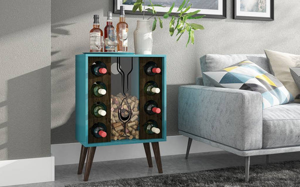 Lund 8 Bottle Wine Cabinet and Display in Aqua and Rustic Brown