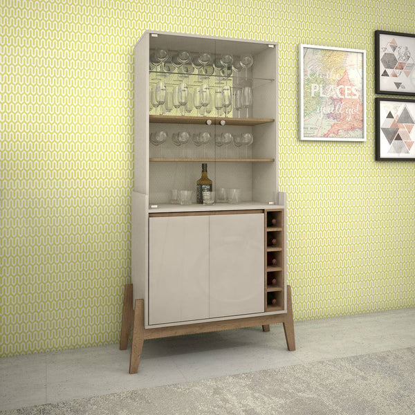 Essence 5-Bottle Wine Cabinet with 6 Shelves in Off White