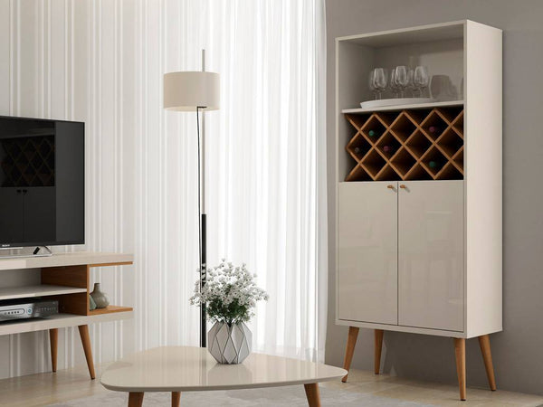 Utopia 10 Bottle Wine Rack China Storage Closet with 4 Shelves in Off White and Maple Cream
