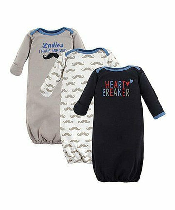 Luvable Friends Boy's 3 Pack Baby Gown Set