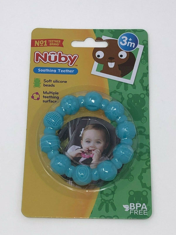 Nuby Soothing Teether Soft Silicone Beads 3M+