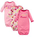 Luvable Friends 3 Pack Girl Gown, 0-6 Months