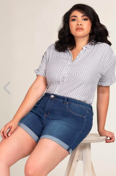 Plus Size Mid-Rise Double Roll Cuffed Shorts