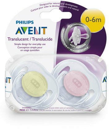 Philips Avent Baby Translucent Orthodontic Pacifier 2 Pack 0-6 Months