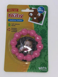 Nuby Soothing Teether Silicone Beads_Pink