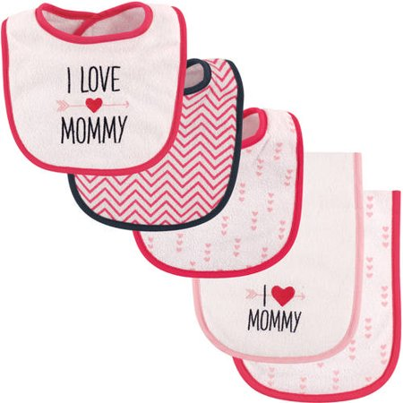 Luvable Friends 5 Pcs Bib & Burp Cloth_ I love Mommy