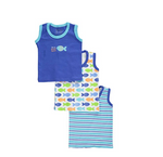 "Luvable Friends Baby Boys' ""Sea Stuff"" 3-Pack Tank Tops"