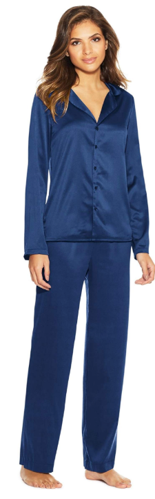 Maidenform Satin 2-piece Button Down Pajama Set in Blue Depths