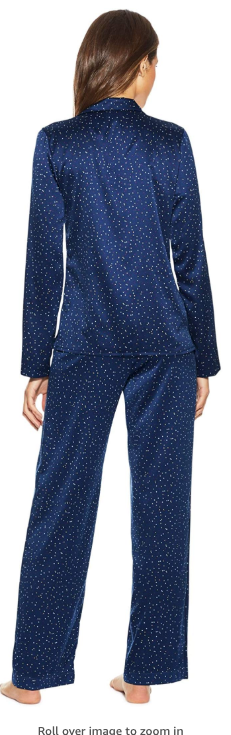 Maidenform Satin 2-piece Button Down Pajama Set in Scattered Dot Blue