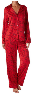 Maidenform Satin 2-piece Button Down Pajama Set in Foil Floral Cherry
