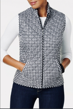 Karen Scott Sport Checkered Quilted Puffer Jacket Vest Black and White