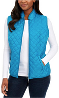 Karen Scott Sport Diamond Quilted Puffer Jacket Vest in Crystal Teal