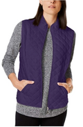 Karen Scott Sport Diamond Quilted Puffer Jacket Vest in Purple Cassis